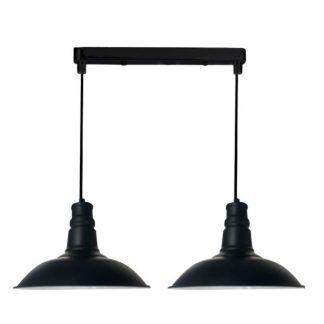 lampa wisząca retro szerokie klosze czarna