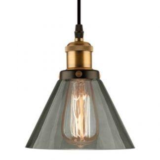 lampa wisząca szary klosz złote elementy