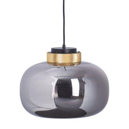 lampa wisząca szklany klosz w połysku złote detale