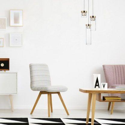 lampa wisząca szkło i kryształki aranżacja salon