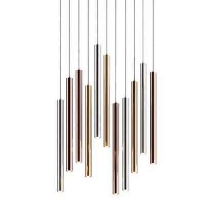 lampa wisząca z metalicznych rurek nowoczesna