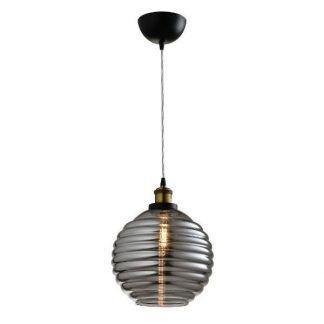 lampa wisząca z szarego szkła retro