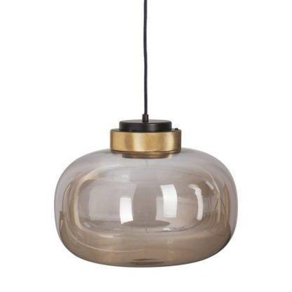 lampa wisząca z szarego szkła złote elementy