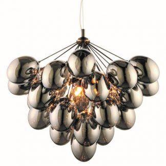 lampa wisząca ze szklanych kulek szara