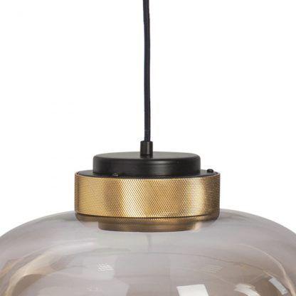 lampa wisząca ze szklanym kloszem złote detale