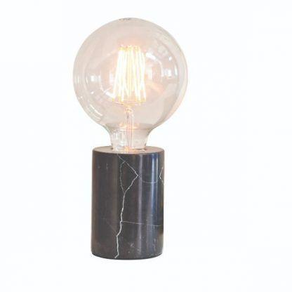 marmurowa lampa stołowa mała czarna