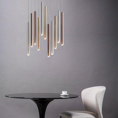 metaliczna lampa wisząca aranżacja salon