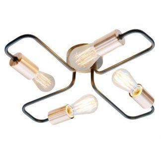 metalowa lampa z odkrytymi żarówkami