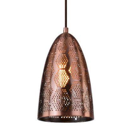miedziana lampa wisząca etno