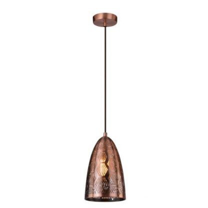 miedziana lampa wisząca z ażurowym kloszem