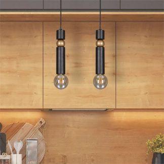 nowoczesna lampa czarne zawieszenie metalowa