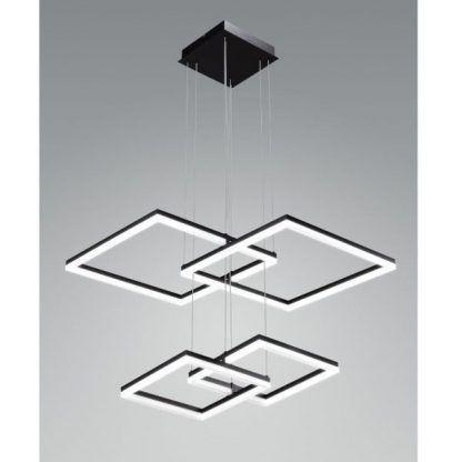 nowoczesna lampa wisząca led czarne kwadraty