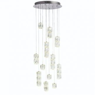 okrągła lampa wisząca do salonu kryształowe klosze