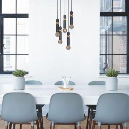 okrągła lampa wisząca nad stół aranżacja jadalnia