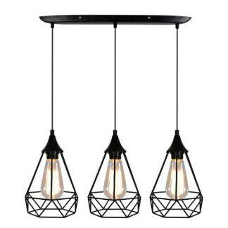 podłużna lampa wisząca druciane klosze