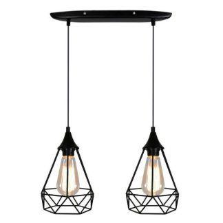 podwójna lampa wisząca z drucianymi kloszami