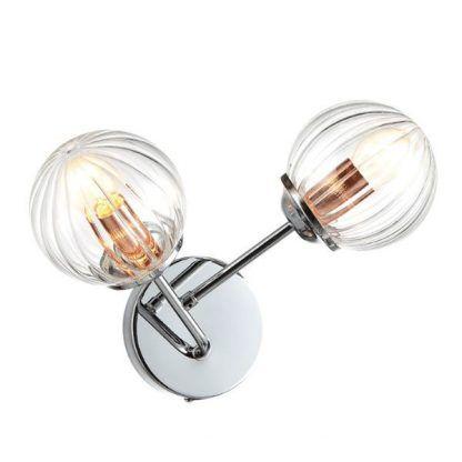 podwójny srebrny kinkiet ze szklanymi kulami