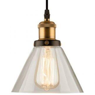 szklana lampa wisząca industrialna