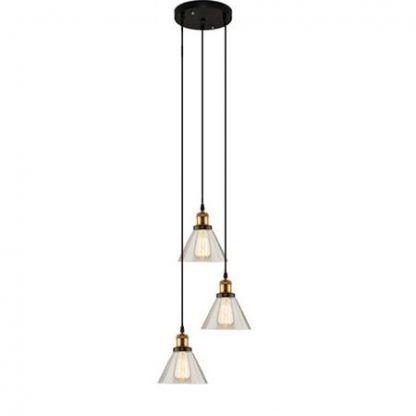 potrójna lampa wisząca loftowa miedziana