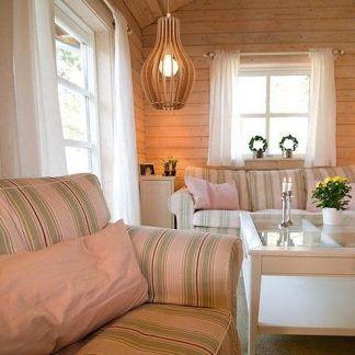 skandynawska lampa ze sklejki aranżacja salon