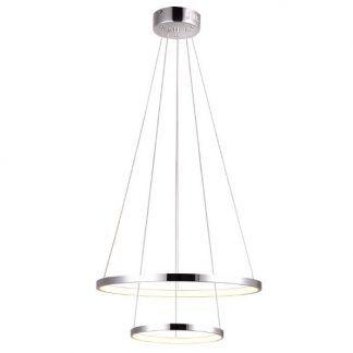 srebrna lampa led dwa ringi