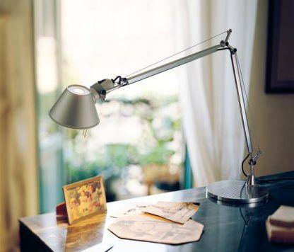 srebrna lampa na biurko regulacja podstawy
