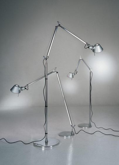 srebrna lampa podłogowa różne rozmiary