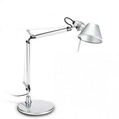 srebrna lampa stołowa do biura nowoczesna