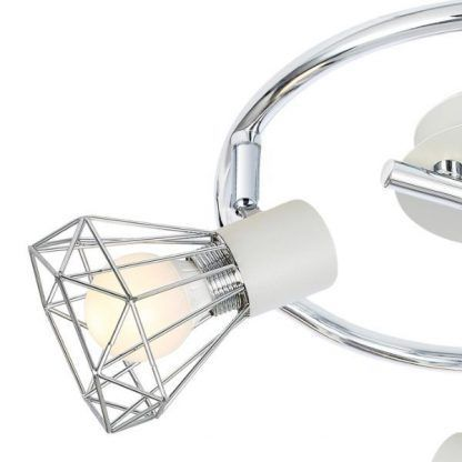 srebrna lampa sufitowa druciane klosze