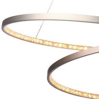srebrna lampa wisząca led kryształowa nowoczesna
