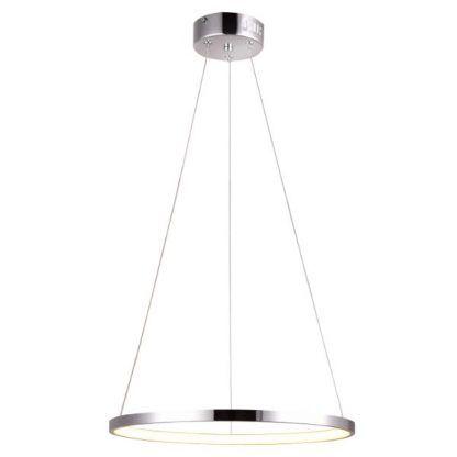 srebrna lampa wisząca ring LED