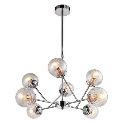 srebrna lampa wisząca sputnik szklane klosze
