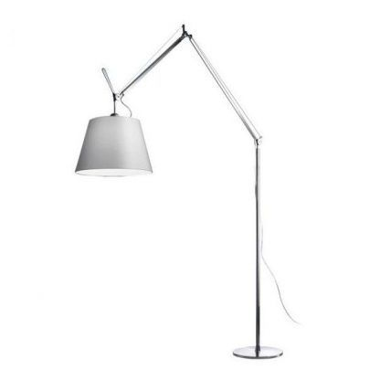 srebrna lampa z szarym dużym abażurem pergamin