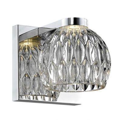 srebrny kinkiet glamour kryształowy klosz