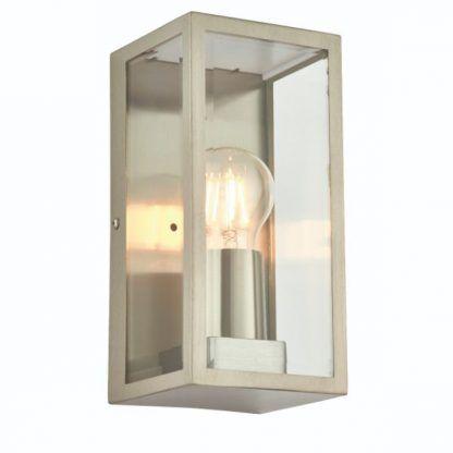 srebrny kinkiet z odkrytą żarówką szklane ścianki
