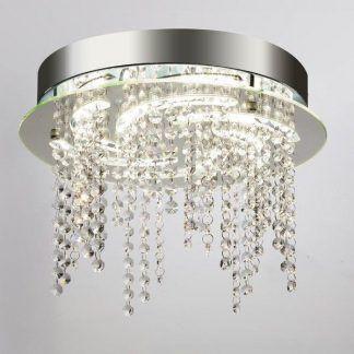 srebrny kryształowy plafon nowoczesny