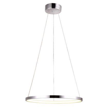 srebrny ring led lampa nad stół nowoczesna