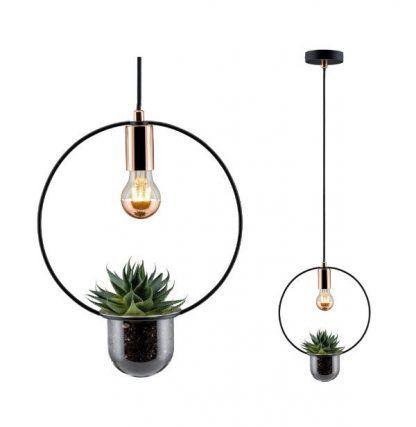 stalowa lampa wisząca z osłonką na kwiatki