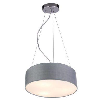 szara lampa wisząca z abażurem do sypialni