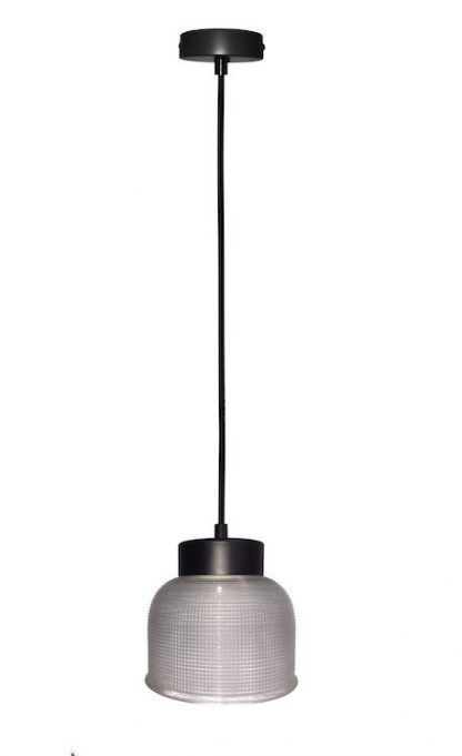 szklana lampa wisząca czarne zawieszenie retro