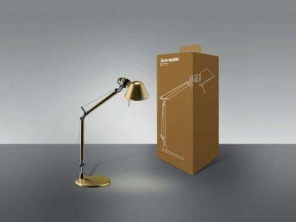złota lampa biurkowa regulowana