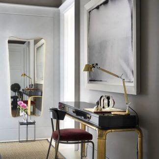 złota lampa stołowa na komodę nowoczesna