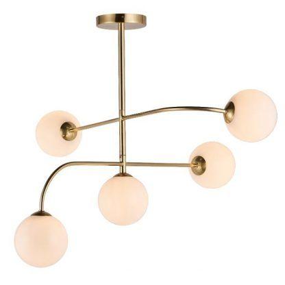 złota lampa sufitowa szklane klosze modern