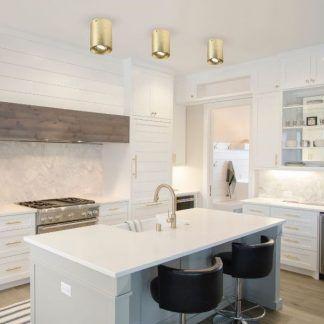 złoty spot sufitowy w białej kuchni aranżacja