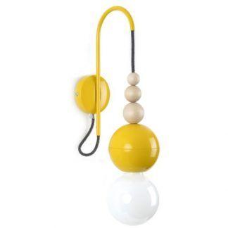 żółty kinkiet dla nastolatka drewniane kulki