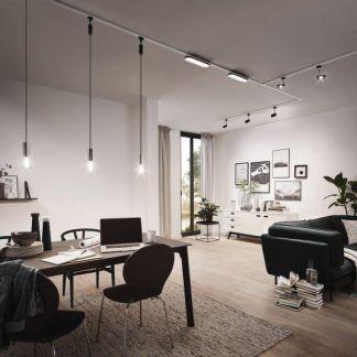 Panel sufitowy Loop do system szynowy URail w salonie