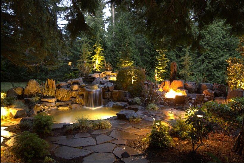 oświetlenie ogrodu ciepłe światło