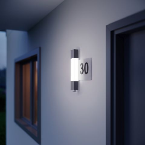 zewnętrzny kinkiet z numerem domu led