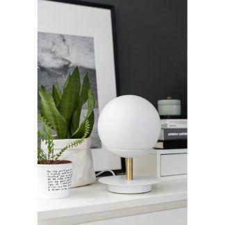 Lampa stołowa Plaat na kominek w salonie