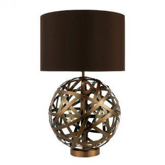 Lampa stołowa Voyage na kominek w salonie